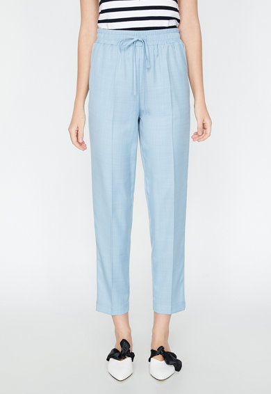 KOTON Pantaloni crop relaxed fit cu dungi in partile laterale Femei