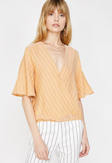KOTON Раирана блуза с разкроени ръкави Жени