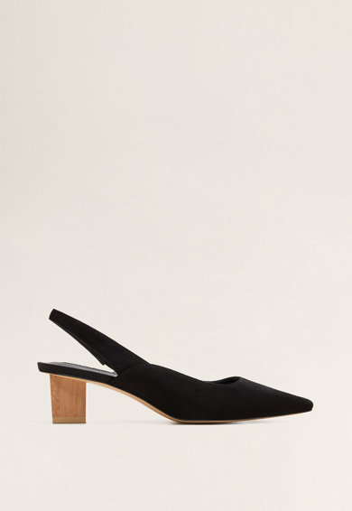 Mango Pantofi slingback de piele, cu toc cu aspect de lemn Crose Femei