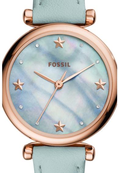 Fossil Ceas rotund cu o curea de piele Femei