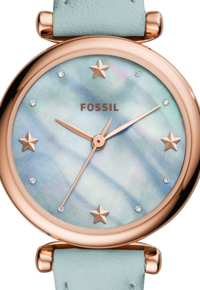 Fossil Овален часовник с кожена каишка Жени