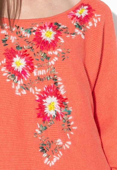 Free People Пуловер с флорално бродерии Жени