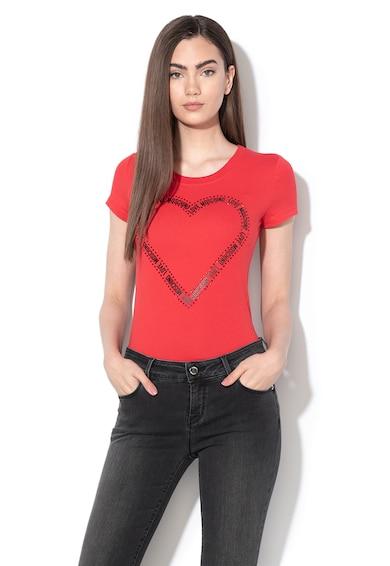 Love Moschino Póló strasszköves rátétekkel női