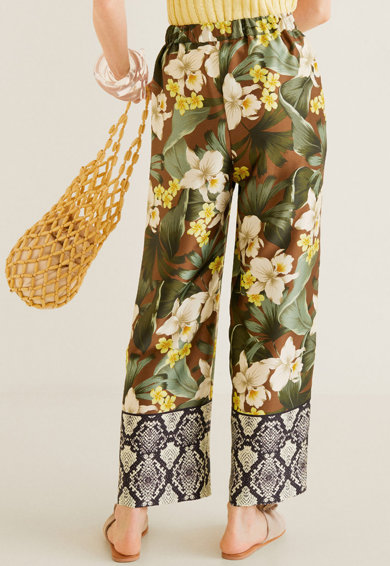 Mango Pantaloni drepti cu imprimeuri diverse Hibiscos Femei