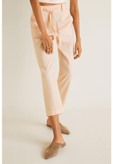 Mango Pantaloni drepti din amestec de in Semili Femei