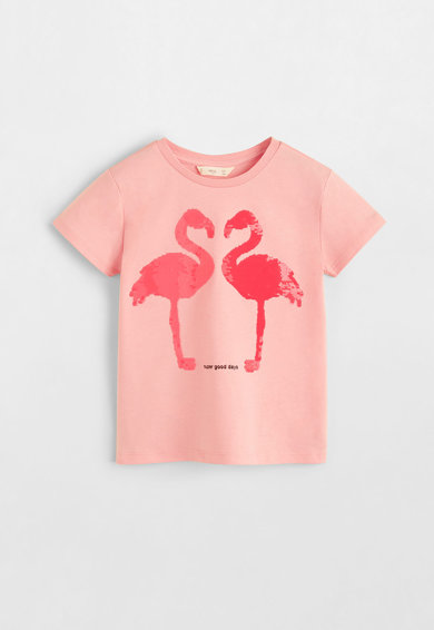 Mango Tricou de bumbac cu model flamingo cu paiete Fete