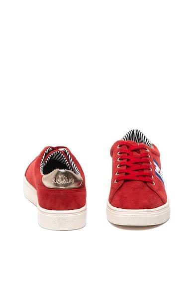 s.Oliver Pantofi sport de piele intoarsa cu insertii de piele ecologica si aplicatie brodata Femei