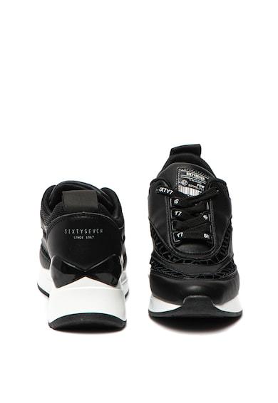 sixtyseven Pantofi sport de piele cu perforatii si platforma wedge Femei