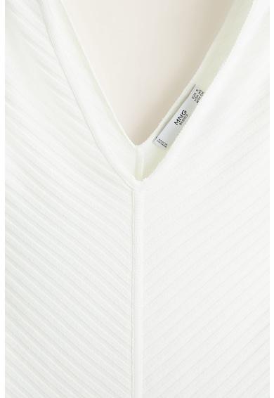 Mango Calie bordázott V-nyakú top női