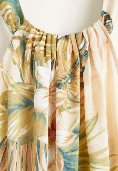 Mango Rochie evazata, cu imprimeu floral si decolteu american Vintage Femei