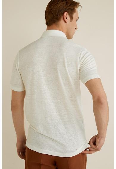 Mango Amberes galléros lenvászon póló férfi