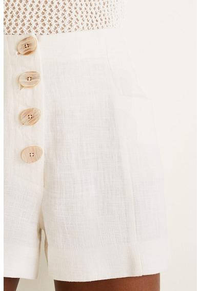 Mango Paris lenvászon rövidnadrág magas derékrésszel női