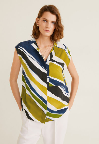 Mango Bluza vaporoasa cu buzunar pe piept Diagonal Femei