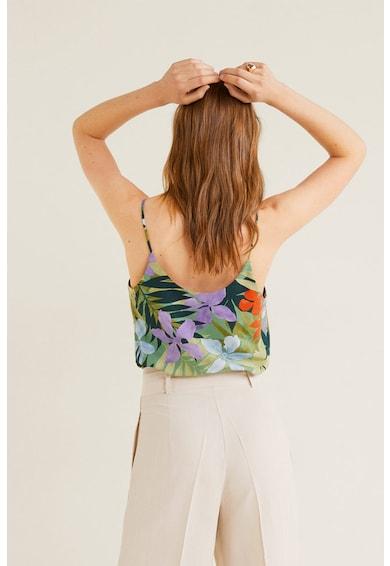 Mango Bluza fara maneci, cu imprimeu floral Hawai Femei