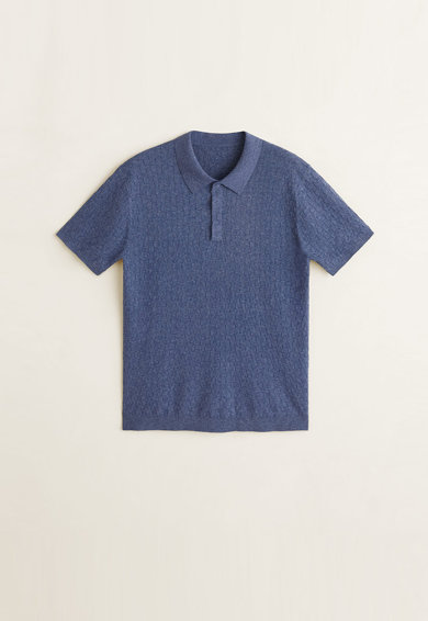 Mango Tricou polo din tricot fin cu model texturat Salguer Barbati