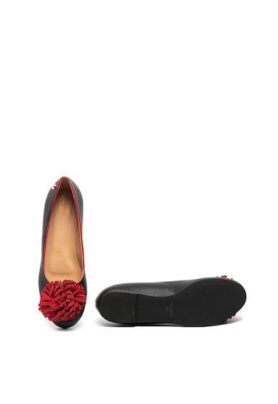 Love Moschino Кожени пантофки с велурен помпон Жени