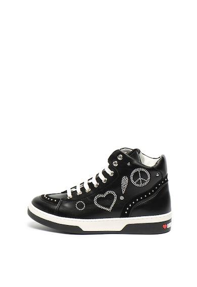 Love Moschino Középmagas szárú műbőr sneaker szegecses rátétekkel női