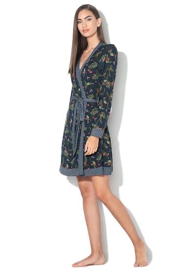 ESPRIT Bodywear Halat cu cordon si imprimeu tropical Finella Femei