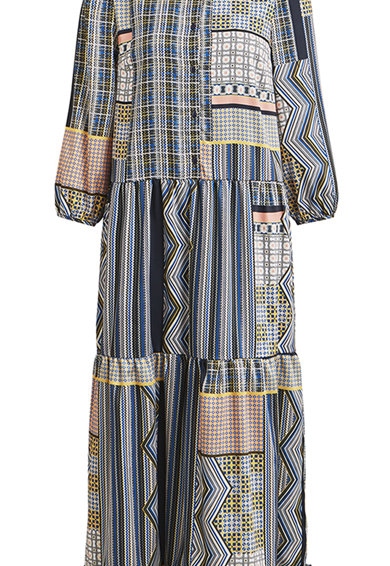 Vila Среднодълга рокля с разнороден десен Жени