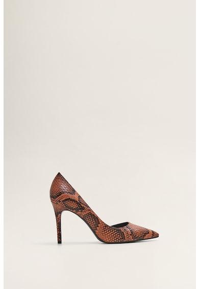Mango Pantofi de piele ecologica, cu model reptila Audrey Femei