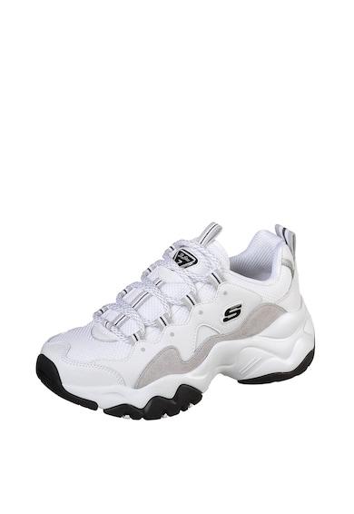 Skechers Pantofi sport de piele peliculizata cu insertii de plasa D'Lites 3.0 Femei