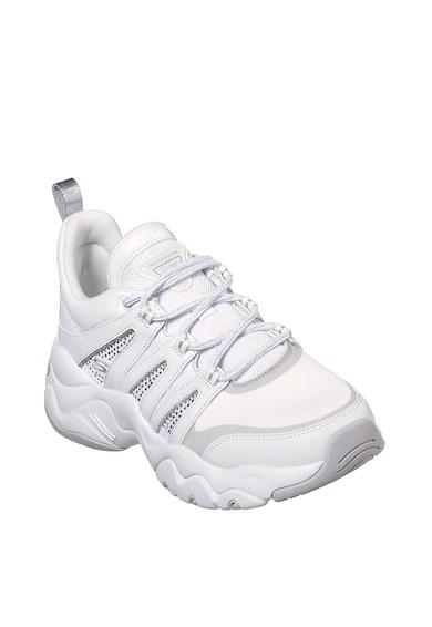 Skechers Pantofi sport de piele peliculizata si material textil D-Lites 3.0 Femei