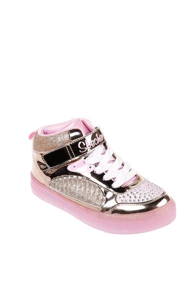 Skechers Pantofi sport cu particule stralucitoare si LED-uri S-Lights Shuffle Brights Fete