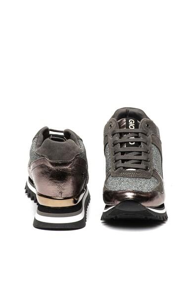 Gioseppo Pantofi sport cu talpa cu striatii, insertii de piele si aspect stralucitor Alzette Femei