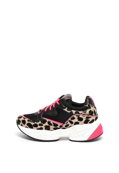 Liu Jo Pantofi sport wedge de piele cu par scurt, cu animal print Jog Femei