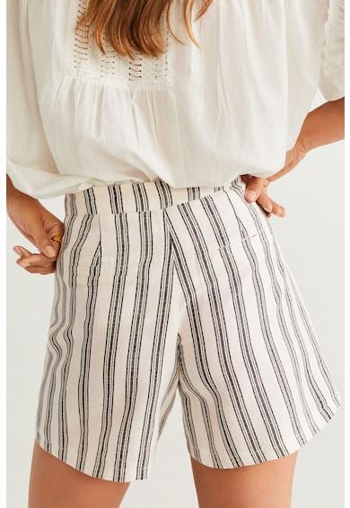 Mango Pantaloni scurti din amestec de in, cu dungi Sisi Femei