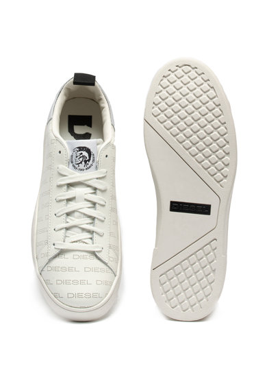 Diesel Pantofi sport de piele, cu logo si talpa joasa Clever Barbati