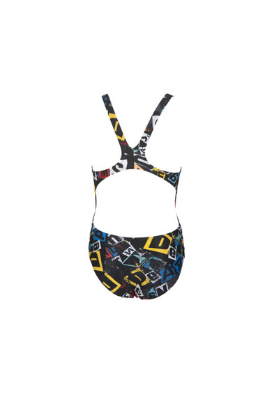 ARENA Costum de inot  Rowdy Tech pentru fete, Black-Multi, 8-9 Fete