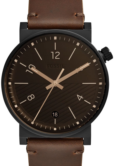 Fossil Кварцов часовник с кожена каишка Мъже
