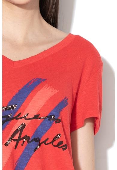 GUESS JEANS Тениска с шпиц деколте Жени