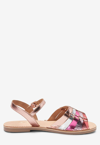 NEXT Sandale de piele cu aspect metalizat Fete