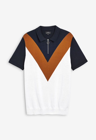 NEXT Tricou polo din tricot fin cu fenta cu fermoar Barbati