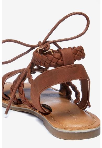 NEXT Sandale de piele ecologica, cu bareta cu aspect impletit Fete