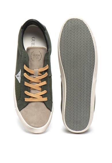 Guess Pantofi sport de piele intoarsa, cu insertii de plasa Barbati