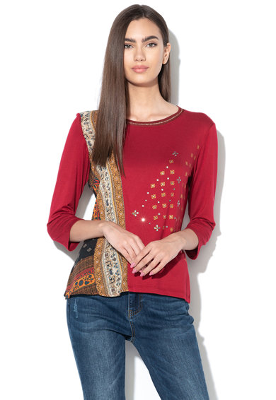 DESIGUAL Флорална блуза с декоративни камъни Жени