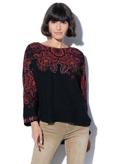 DESIGUAL Bluza cu model floral, croiala asimetrica si nituri Lumbe Femei