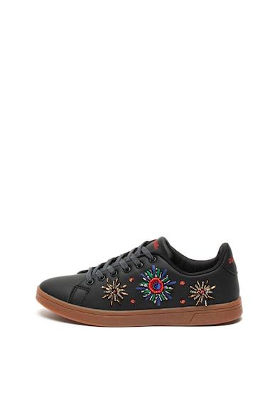 DESIGUAL Pantofi sport de piele ecologica, decorati cu margele Cosmic Femei