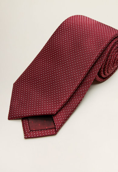 Mango Релефна копринена вратовръзка Мъже
