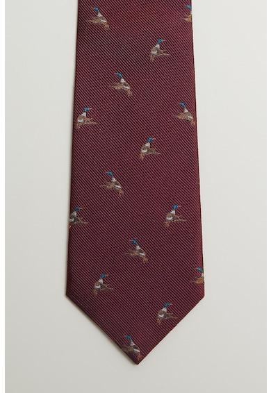 Mango Cravata de matase, cu model cu pasari Barbati