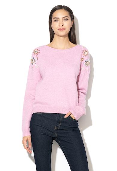 Silvian Heach Collection Maalal gyapjútartalmú pulóver virágos rátétekkel női