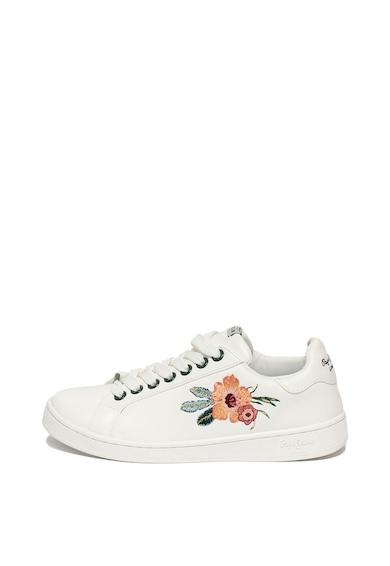 Pepe Jeans London Pantofi sport de piele ecologica, cu broderie florala Brompton Femei