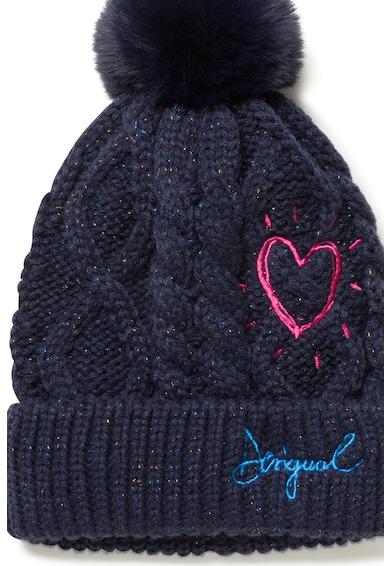 DESIGUAL Плетена шапка с бродерии, Тъмносин, S-M Standard Жени