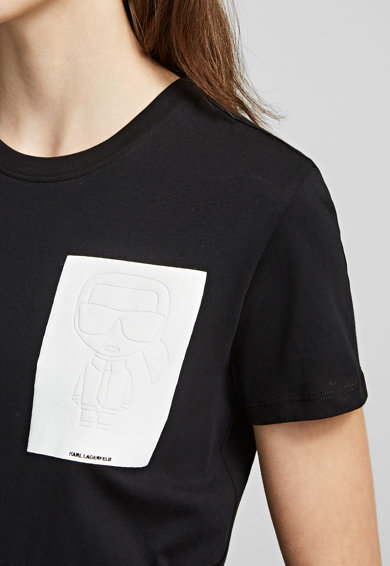 Karl Lagerfeld Tricou cu detaliu contrastant pe piept Ikonik Femei