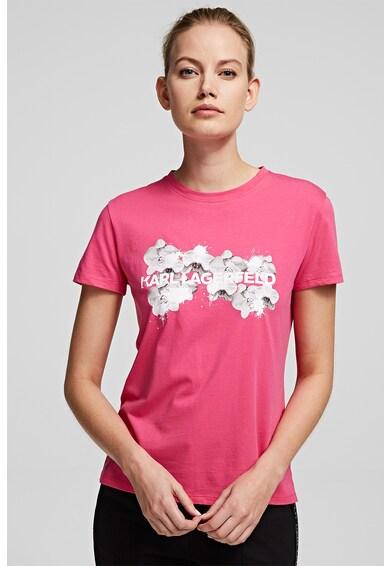Karl Lagerfeld Tricou cu imprimeu logo si floral KARL X OLIVIA PALERMO Femei