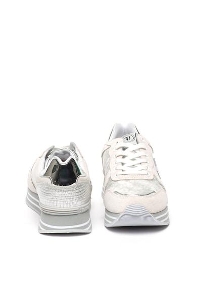 Trussardi Jeans Fémes hatású sneaker nyersbőr részletekkel női