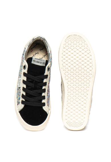 Pepe Jeans London Pantofi sport stralucitori cu insertii de piele intoarsa Portobello Fete